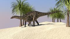 Dicraeosaurus walking in a tropical environment. - stock illustration