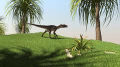 Utahraptor walking across a grassy field. - stock illustration