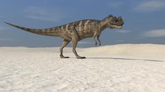 Ceratosaurus walking across a barren landscape. Stock Illustration