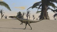 Coelophysis in a desert landscape. Stock Illustration