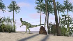 Dilophosaurus hunting for its next meal. - stock illustration