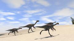 Herd of Gigantoraptors running across desert terrain. Stock Illustration