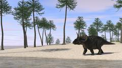 Triceratops walking along the shoreline. Stock Illustration