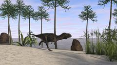 Majungasaurus running along the shore. Stock Illustration