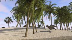 Majungasaurus running across a tropical landscape. Stock Illustration