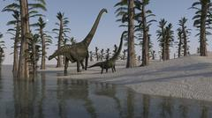 Two Mamenchisaurus roaming along the shoreline. Stock Illustration