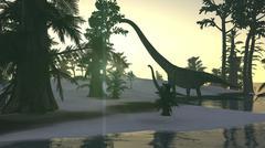 Mamenchisaurus and her offspring walking a prehistoric environment. - stock illustration