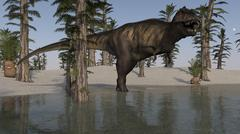 Tyrannosaurus Rex hunting for its next meal in shallow water. - stock illustration