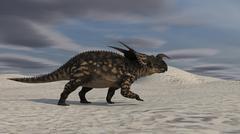 Brown Einiosaurus walking across a desert landscape. Stock Illustration