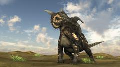 Brown Einiosaurus walking across a barren landscape. - stock illustration