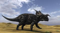 Brown Einiosaurus walking across a barren landscape. Stock Illustration