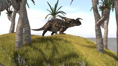 Einiosaurus on a grassy hill. Stock Illustration