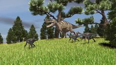 Ceratosaurus chasing a group of Gigantoraptors. - stock illustration