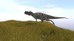 Ceratosaurus running across a grassy field. - stock illustration