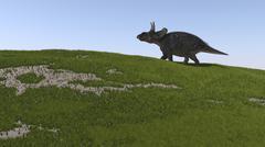 Triceratops walking across a grassy field. - stock illustration