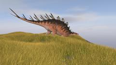 Kentrosaurus walking through a grassy field. Stock Illustration