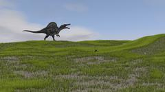 Spinosaurus walking across a grassy field. - stock illustration