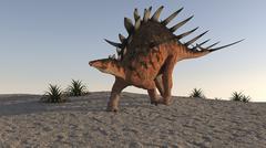 Kentrosaurus walking on sandy terrain. Stock Illustration