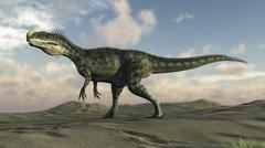 Monolophosaurus walking across desert terrain. Stock Illustration