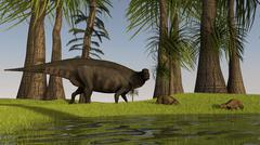 A Shuangmiaosaurus dinosaur grazing a nearby swamp with two Eurohippus. Stock Illustration