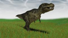 Tyrannosaurus Rex hunting for its next meal in a grassy field. - stock illustration