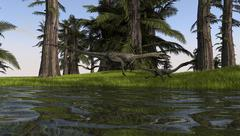 Two Coelophysis dinosaurs running along the edge of swampy water. Stock Illustration
