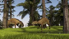 Two Eurohippus grazing along a nearby swamp. Stock Illustration