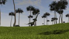 Mamenchisaurus walking across a grassy field. - stock illustration