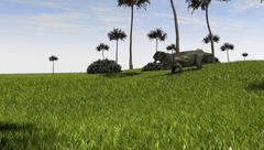 Lystrosaurus in a grassy field. Stock Illustration