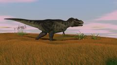 Tyrannosaurus Rex walking across a grassy field. - stock illustration