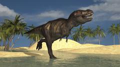 Tyrannosaurus Rex running through shallow water. Stock Illustration