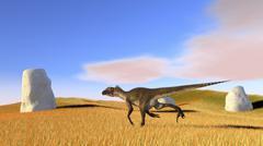 Utahraptor running across a grassy field. Stock Illustration