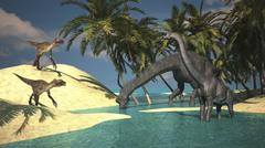 Two large Brachiosaurus grazing in shallow waters as two Utahraptors approach. Stock Illustration