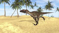 Utahraptor running across a barren landscape. - stock illustration
