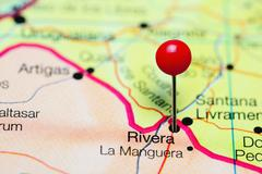 Rivera pinned on a map of Uruguay Stock Photos