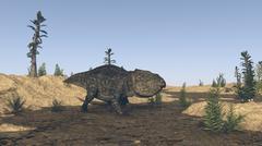 Udanoceratops walking in muddy water. - stock illustration