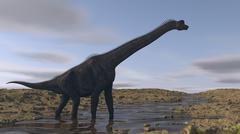 Large Brachiosaurus walking along a dry riverbed. Piirros