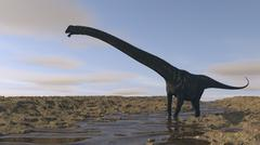 Large Mamenchisaurus walking along a dry riverbed. Piirros