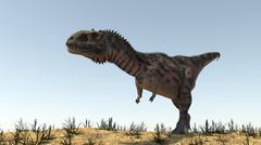 Majungasaurus in a barren environment. - stock illustration