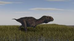 Alluring Majungasaurus in swamp grassland. - stock illustration