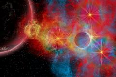 The remains of a supernova give birth to new stars. Stock Illustration
