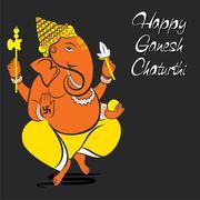 Happy ganesh chaturthi festival greeting design Stock Illustration