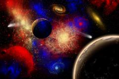 The cosmos is a place of outstanding natural beauty and wonder. Stock Illustration