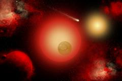 A distant binary star system located within The Milky Way. - stock illustration