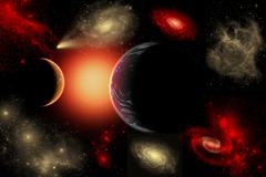 Artist's concept of the cosmic wonders of the universe. - stock illustration