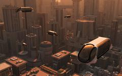 A conceptual image of a futuristic city. Piirros