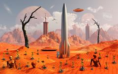 A 1950s style scene showing a rocketship on a red planet. Stock Illustration