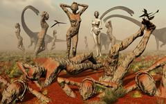 Artist's concept of mutated dinosaurs and atlantians. Stock Illustration