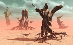 A surreal look at a petrified prehistoric forrest. Stock Illustration