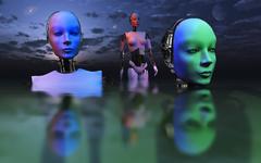 Three robots link to form one super mind. Stock Illustration